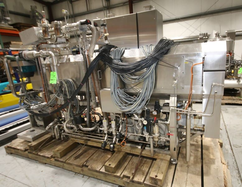"""GEA Aseptomag Aseptic Enclosed Can Filler/Seamer, Type ACF01, S/N 989 0477, Single Lane Design, with On Board 2 Head Angelus Seamer, Includes Filter System, Endress-Hauser Flow Meter, with (4) Blowers, Related Valves and Piping, with Control Cabinent, with Allen bradley PLC Controls, with Panel View 550 Display, Overall Machine Dimensions 11' L x 80""""W x 84"""" H, (W773)"""