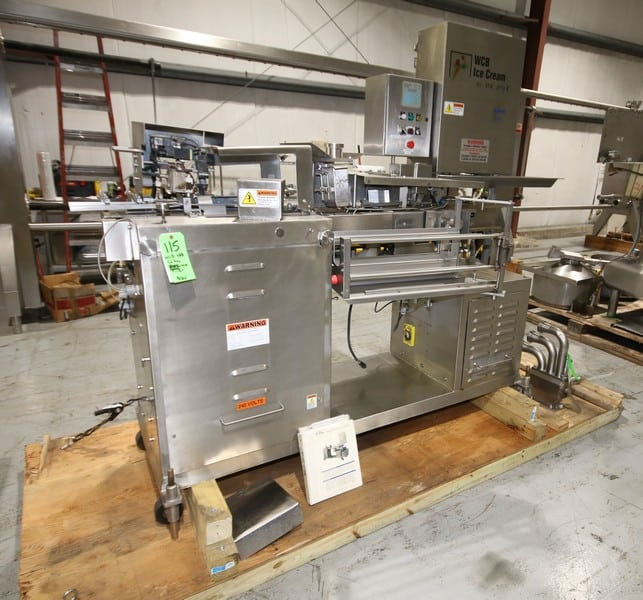 WCB Half Gallon S/S Ice Cream Carton Filler, Model 588, with Emerson Servo Drive, with Electro Cam 6,000 Senes Controller, Includes Neopolitan Filler Head, with Spare Parts - Includes New Spare Servo Drive, (W772)(Rigging & Loading Fee $200.00) (Located in Pittsburgh, PA)