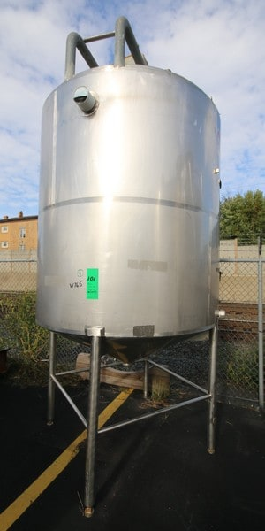 "Approx. 1,000 Gallon Cone Bottom Jacketed S/S Tank, with Bottom Sweep Agitator, with SEW Drive Motor, with Baffle, Dual Sprayball, Top Access Door, with S/S Legs, (Approx. Overall Dim. 80"" W x 152"" H), (W765) (Rigging & Loading Fee $800.00) (Located in Pittsburgh, PA)"