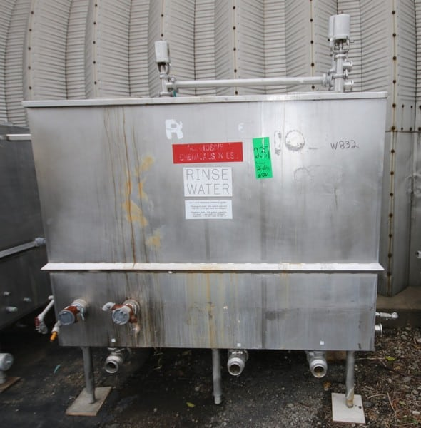 "3 - Compartment Rectangular S/S CIP Tank with 6'L x 3'W x 54""H Tank, with Valves, (W832)(Rigging & Loading Fee $200.00) (Located in Pittsburgh, PA)"