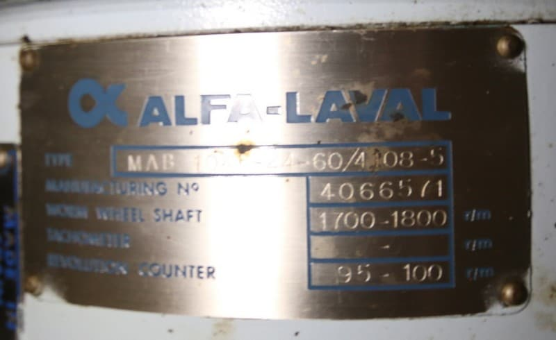"Separator Skid with Alfa Laval Small Separator, Type MAB 104B-24-60/4108-5, Mfg # 4066571, Includes Bowl Wrench, with Heatpac Mfg # 12461, with Lines, Valves & Controls Mounted on Cart, (Overall Dim. 67"" L x 40"" W x 79"" H), (W977) (Rigging & Loading Fee $200.00) (Located in Pittsburgh, PA)"
