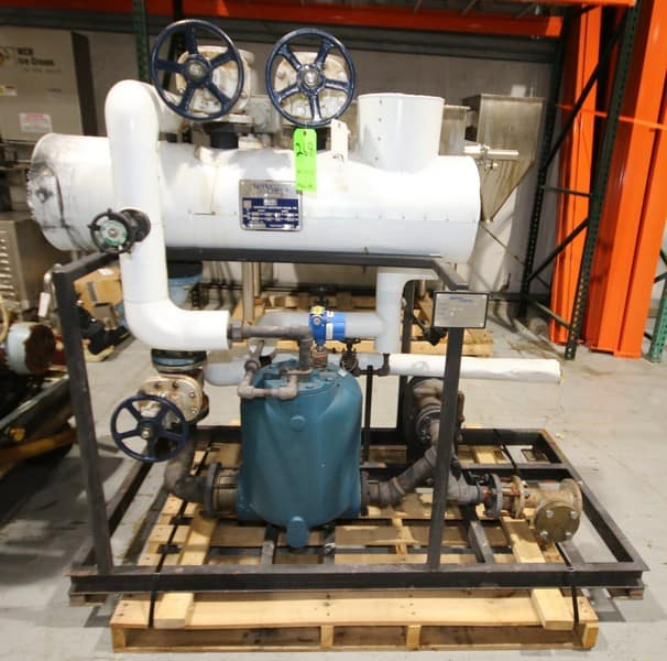 "2010 Shell & Tube Skid Heat Exchanger, Model SPC3-PT-CS-HC-1237, with 2010 Spirax Sarco 53"" L x 14"" W Shell & Tube Heat Exchanger, SN C6409-3, MAWP - 150 psi @ 450 degree F, MDMT - 20 degree F @ 150 psi, with Condensate System, Valves & Lines, (Overall Dim. 73"" L x 35"" W x 66"" H), (C22/W978)(Rigging & Loading Fee $200.00) (Located in Pittsburgh, PA)"