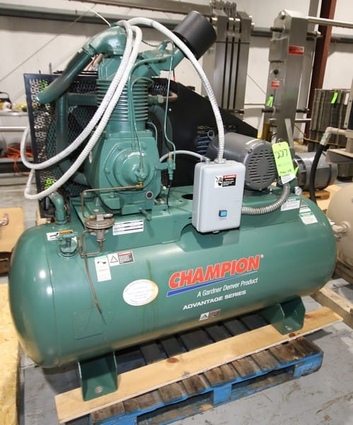 "Like New Champion 15 hp 2 Cylinder Tank Mounted 2 - Stage Air Compressor, Model CASRSA31 / HRA15, SN D063871, 208V / 230V /460V / 60 HZ / 3 Phase, Mounted on 120 Gal Horizontal Tank, Includes Onboard Switch, Baldor Motor @ 1760 RPM, Rated for 175 psig @ 53.7 CFM, Weighs Aprox. 1,000 lbs, (2008 mfg), Tested & Runs, Aprox. Overall Dim. 74"" L x 32"" W x 64"" H) (W300)(Rigging & Loading Fee $150.00) (Located in Pittsburgh, PA)"