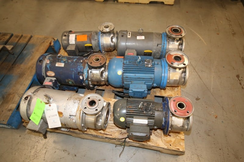 (6) G & L Centrifugal Pumps, Models SST, SSh and Others, From 5-10 hp, 3500, 3450, and 3480 rpm, with S/S Heads, all 575V 3 Phase (W1009)(Rigging & Loading Fee $50.00) (Located in Pittsburgh, PA)