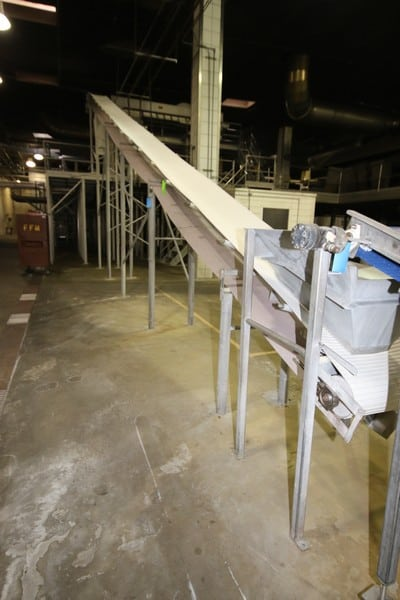 "Key V-Shape Incline Feed Conveyor, with Cleated Vinyl Beat, Aprox. 24"" W Belt, with Mounted S/S Infeed Hopper, Overall Dims.:  Aprox. 50' L x 20-1/2' H (At Peak)"
