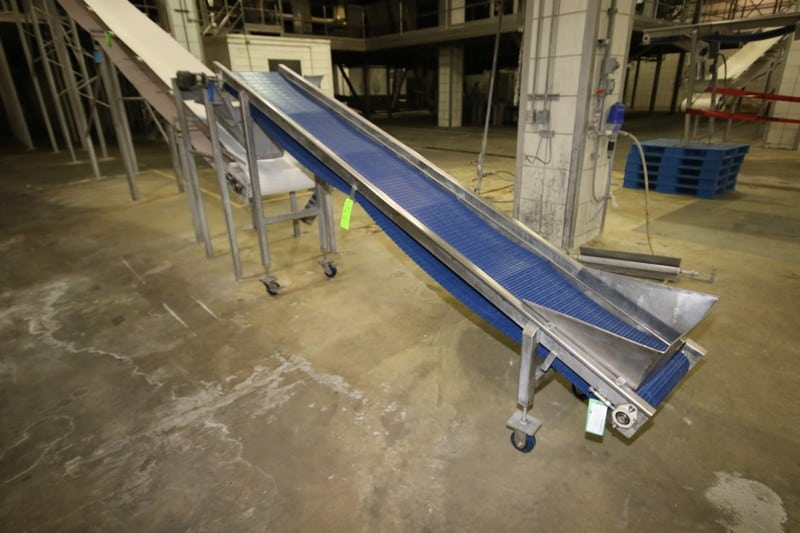 "S/S Incline Conveyor, Aprox. 11' L x 18"" W Interlock Belt, Mounted on S/S Portable Frame, Hydraulic Operated"