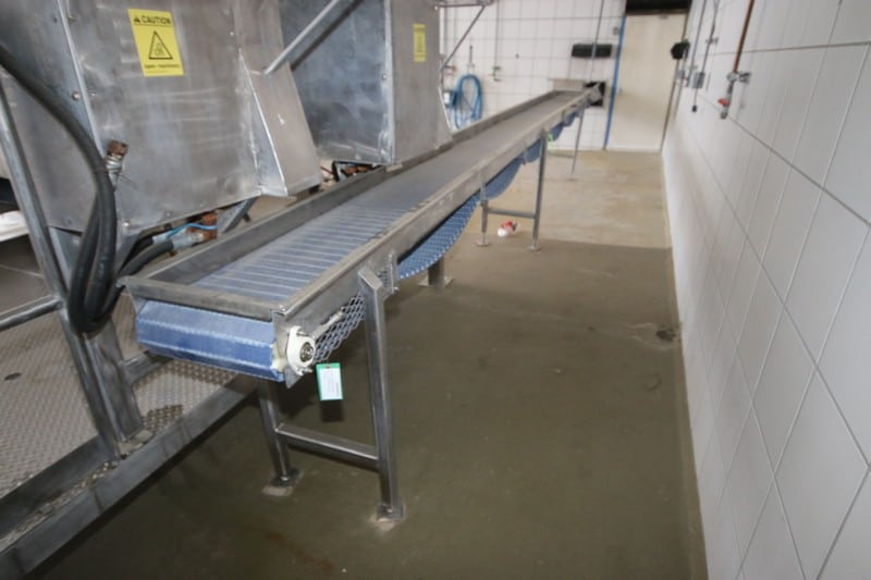 "S/S Conveyor, with Top Mounted Spray Down Section, Aprox. 35' L x 16"" W Belt, with S/S Legs"
