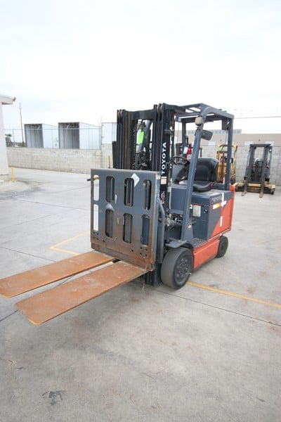 Toyota 3,850 lb. Sit-Down Electric Forklift, M/N 8FBCU25, S/N 60326, with 36-Volt Battery, 10,552.8 Hours, with Slip Sheet Attachment, with Ferro 1500 Series 36 Volt Battery Charger, M/N VFR18HK660 (Forklift 24)