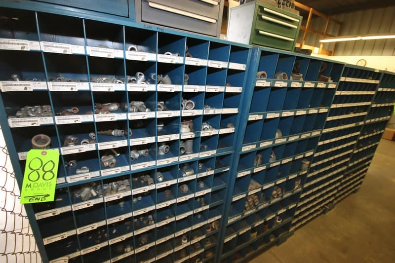 Cubby Hole Shelves with Contents, Includes Fitting, Steel Pipe Nipples, and Other Contents (6-Pce. Lot)