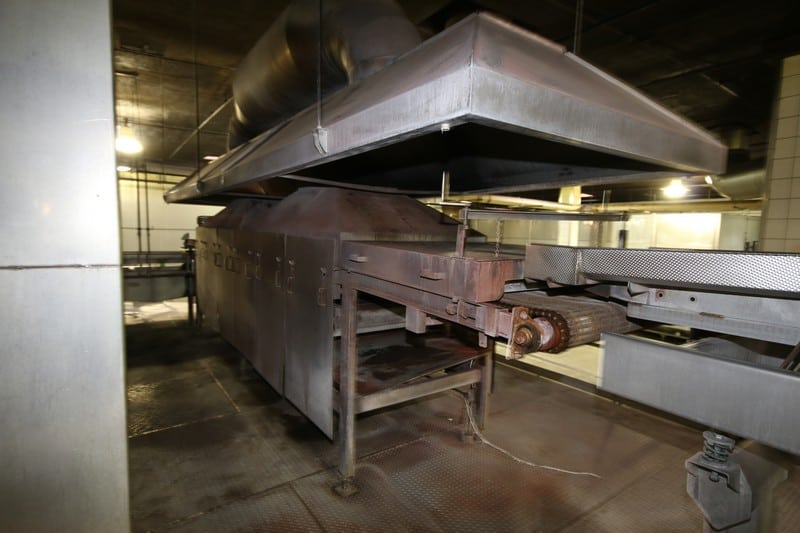 "Natural Gas Fire Roaster #2, with Aprox. 33"" W Belt, Includes S/S Exhaust Hood, Overall Dims.:  Aprox. 23' L x 43"" W (NOTE:  Burners Removed from Decommissioning)"