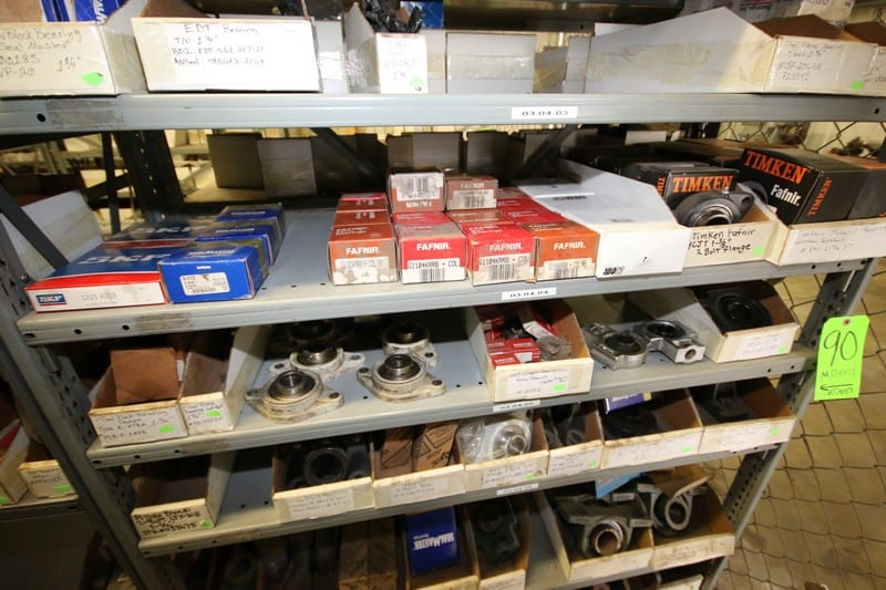 5-Part Shelves with Contents, Includes Hydraulic Motors, NEW Bearings by Fafnir, Timken, SKF, SealMasters, and Others, Includes Other Present Contents