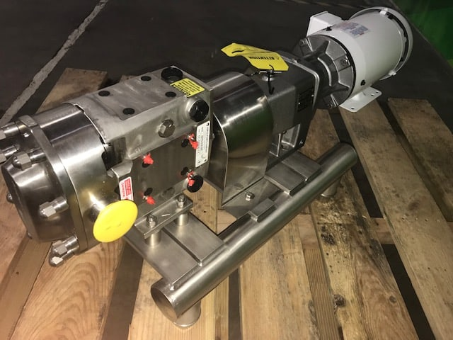 "NEW 2015 Ampco 316 S/S Positive Displacement Beer Pump, Model LFR22-215-18, S/N S/N: CC-1208-1-1, Designed Flow Rate: 30GPM with Beer, 135 mm Impeler, 2"" Suction x 1-1/2"" Discharge, Baldor 2-HP  1755 RPM Motor, 208-230/460 V, NEW Anderson IZ Mag Flow Meter PN #IZMAG032D00SA0R000DSHIP, NEW AC Tech 2-HP VFD, ESV152N02YXC, S/N 201572262-100(NEW. STILL IN ORIGINAL BOX) (Located in Denver, Colorado)"