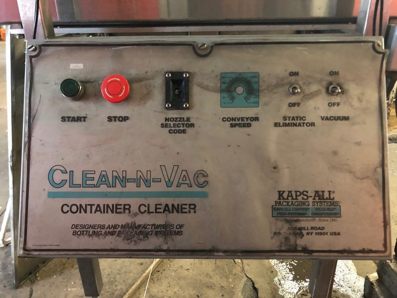 Kaps All Bottle Cleaner, Model AC-12, SN 1628, Single Phase, Can Operate on Various Size Glass or Plastic, Up to 80BPM, New Installed PC Controller (Located 30 Miles from Pittsburgh in Natrona Heights, PA)