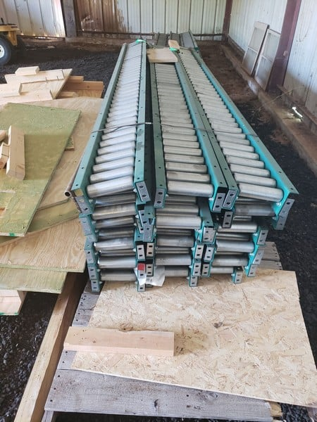 "Like NEW Floor Mounted 10 ft. L Roller Conveyor, with 7"" W Rollers (***Located in Ft. Worth, TX)"