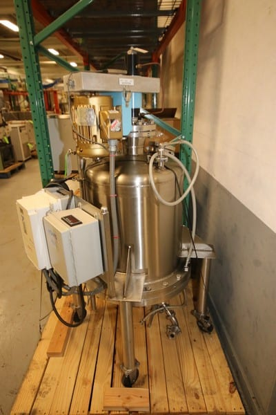 "Watson / OCS Aprox. 30 Gal. Portable Pressurized S/S Reactor Tank, SN 2342-2, MAWP 100 Psi @ 350 Degrees, with 1 hp High Shear Agitator, 1150 RPM, 230/460V 3 Phase, Includes Top Mounted S/S Funnel & Sight Glass, Bottom 1 1/2"" CT Discharge Line with Butterfly Valve & Allen Bradley Powerflex 70 On-Board VFD Controller (W333) (Rigging & Loading Fee $250.00)(Located in Pittsburgh, PA)"