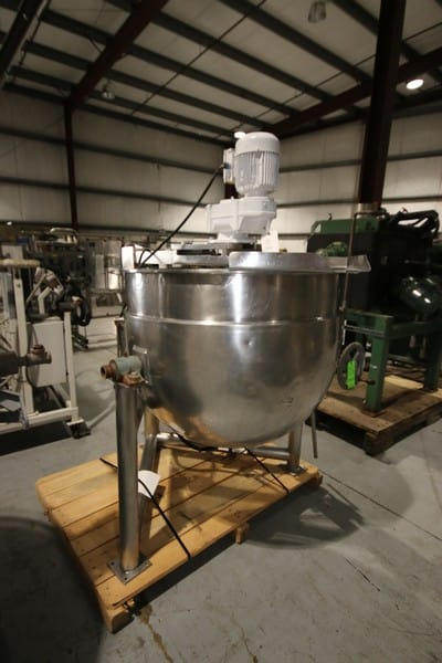 Groen 150 Gallon S/S Kettle, M/N DN/TA-150, MAX. W.P. 45 PSI @ 300 F, NAT'L BD Number:  99129, with Top Mounted Agitation (Rigging & Loading Fee $175.00)(Located in Pittsburgh, PA)