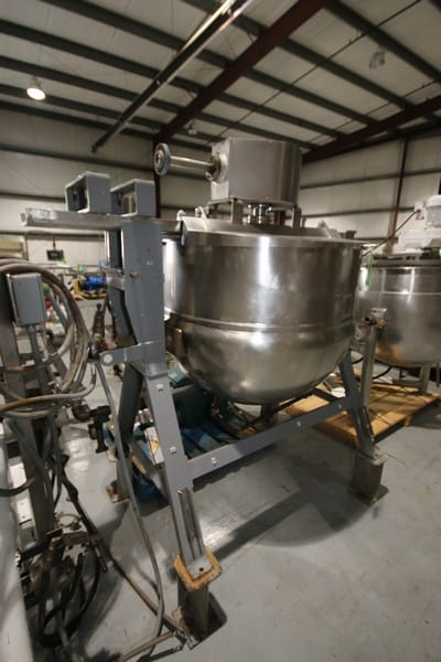 Lee 150 Gallon Steam Jacketed S/S Kettle, S/N A1133 with Bottom Side Scrape Surface Agitator with 3 hp / 1750 RPM Drive Motor, 208/230 - 460 V, 3 Phase with Hinged Lids and Tilt Capability, Mounted on Steel Frame, BN 1230, Jackete 90 psi @ 350 Degrees F, (W809) (Rigging & Loading Fee $200.00)(Located in Pittsburgh, PA)