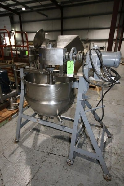 Lee 50 Gallon Jacketed Kettle, S/N 715-S, Equipped with Top-Mount Sweep Scrape Agitation, 1-1/2 HP, 1710 RPM, 90 PSI @ 330 Degree F, 3 Phase (Rigging & Loading Fee $200.00)(Located in Pittsburgh, PA)