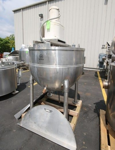 "Groen 350 Gallon S/S Kettle, with Top Mounted Agitation, Mounted on S/S Legs, Internal Dims.: Aprox. 51"" Dia. x 40"" Deep (Rigging & Loading Fee $200.00)(Located in Pittsburgh, PA)"