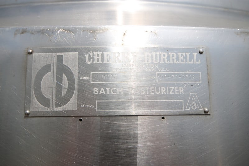 Cherry-Burrell 500 Gallon S/S Batch Pasteurizer, M/N WPDA, S/N 500-76-3708, Mounted on S/S Legs, with CIP Spray Ball, Dome-Top with Agitation (NOTE: Missing Agitation Motor) (Rigging & Loading Fee $300.00)(Located in Pittsburgh, PA)