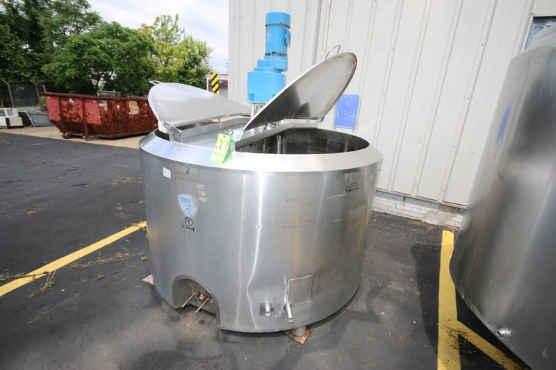 "Crepaco 550 Gallon S/S Jacketed Tank, S/N C8652, Heat Exchange Jacket 50 PSIG, with CIP Spray Ball, Top Mounted Agitation Motor, Internal Dims.: Aprox 66"" Dia. x 39"" Deep (Rigging & Loading Fee $300.00)(Located in Pittsburgh, PA)"