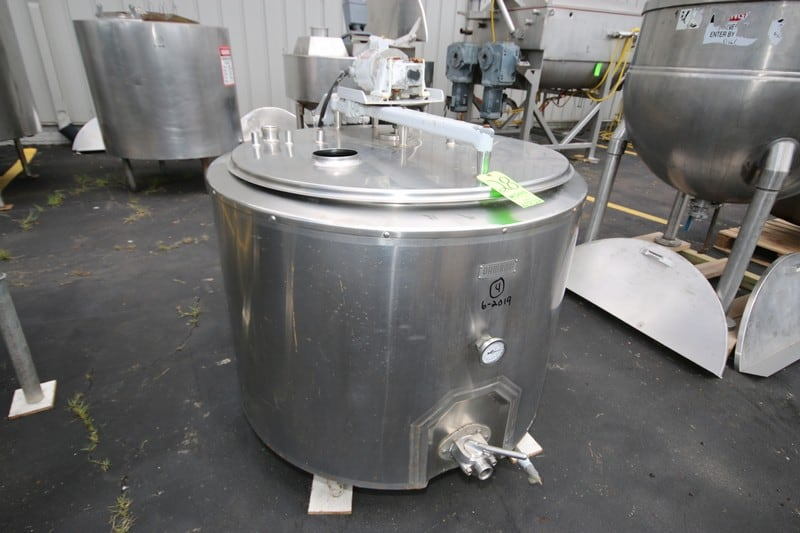 "Damnrow 150 Gallon S/S Jacketed Tank, with Top Mounted Agitation, Internal Dims.: Aprox. 43"" Dia. x 30"" Deep (Rigging & Loading Fee $175.00)(Located in Pittsburgh, PA)"
