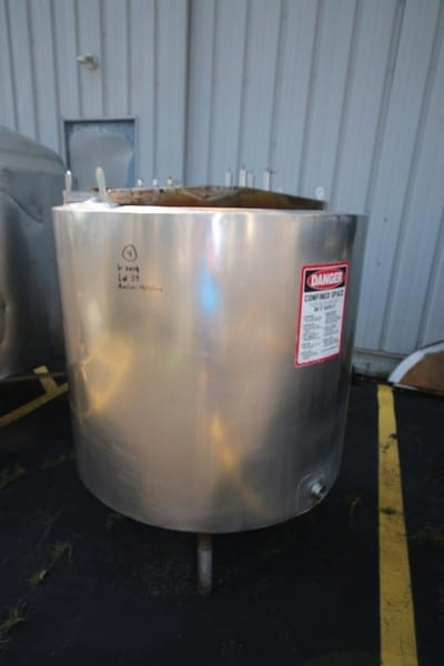 Jenson S/S 300 Gal. Jacketed Vertical Tank, S/N CRST-101-DR, with S/S Slope Bottom, Mounted on S/S Legs