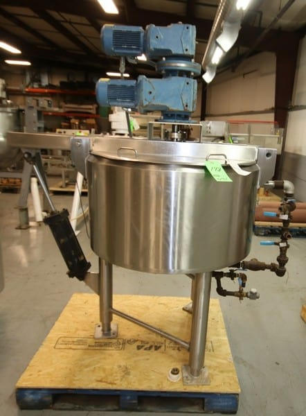 "Cherry Burrel Aprox. 75 Gal Hinged Lid S/S Processor / Kettle, SN E-458-90, with Dual Motion Agitator with Scrape Surface, SEW 1 hp @ 1760 rpm Drive Motors, Pneumatic Bridge, S/S Bottom, S/S Legs, 230/460 V 3 Phase, max working psi 150 psi @ 400 degree F, (Overall Diam. - 66"" W x 78"" H)(W556) (Rigging & Loading Fee $200.00) (Located in Pittsburgh, PA)"