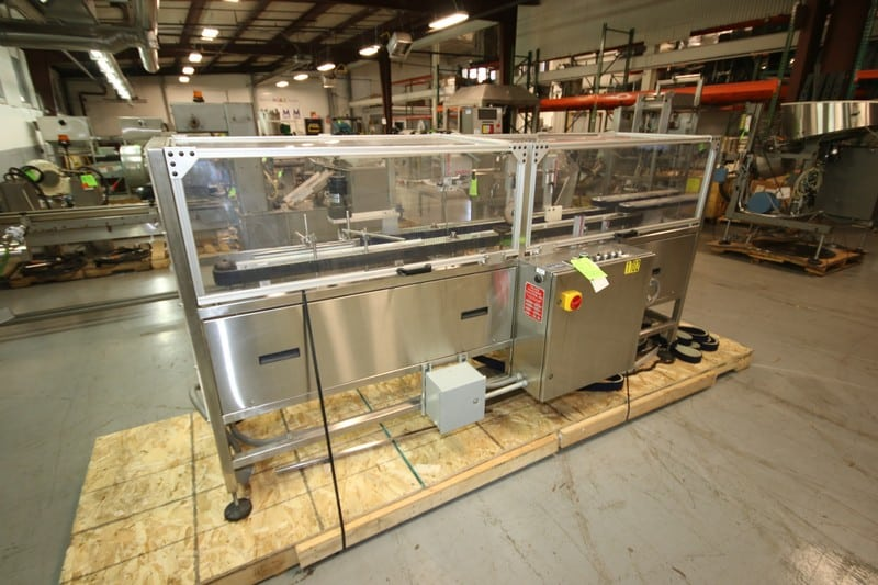 Palace Packaging Parallel Orienting Belt Assembly, M/N D-4-PR5/H-25, S/N 5008, 120 Volts, 1 Phase, with Allen Bradley MicroLogix 1000 Control (Rigging & Loading Fee $250.00) (Located in Pittsburgh, PA)