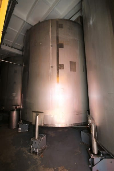 (3) 10,000 Gal. Vertical Cone Bottom Mix Tanks with Cleveland Elect. Drives, (2) 12 ft W (No. 1 & 2) x (1) 13 ft W (No. 3) x 12 ft H, All Mounted on Load Cells (Overall Height 210″)