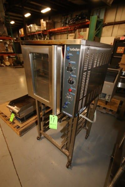 Moffat S/S Turbofan 32 Oven, Mounted on S/S Portable Frame, with (6) S/S Pan Insertion Stations in Frame (Rigging & Loading Fee $25.00)(Located in Pittsburgh, PA)