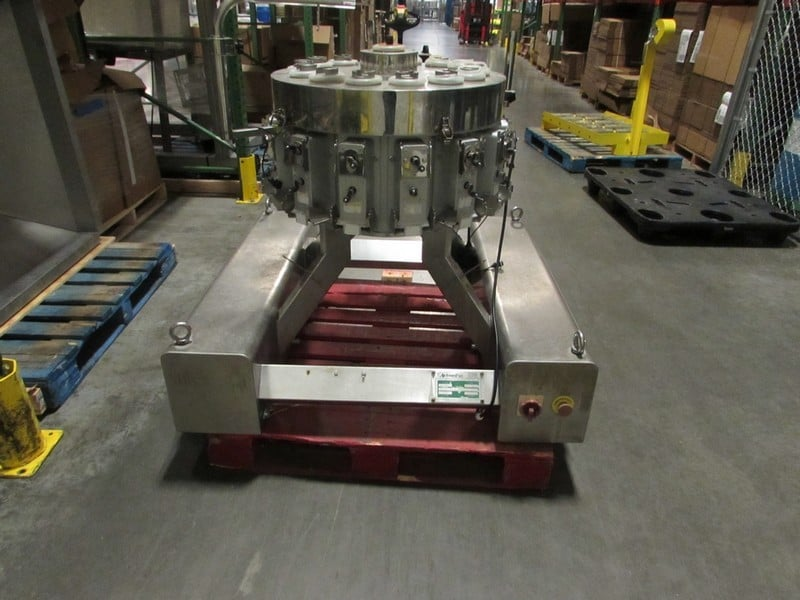 "2017 Action Pak Rotary Scale Pretzel Filler with Bucket Elevator, 14-Head Scale, Model MULT 1109-1.6x14, S/N 4594, Elevator Dimensions: 171"" Tall x 138"" W, Previously Operated as Hummus & Pretzel Cup Filling Line with Lot 17 (2017 Pack Line Cup Filler), Photos of Product Packaging Available (Tag # 1150 & 1151) (Sold Subject to Seller Confirmation of Bid)(SUBJECT TO BULK BID IN LOT 20)"