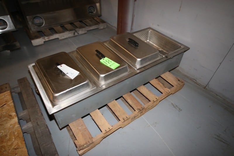 "S/S 4-Station Buffet Serving Station, with (3) S/S Lids, Station Internal Dims.:  Aprox. 20"" L x 12"" W x 6"" Deep (Rigging & Loading Fee $35.00)(Located in Pittsburgh, PA)"