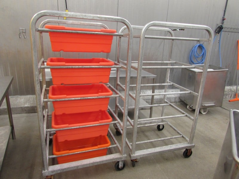 "Heavy Duty Welded Aluminum Tote Dollies for Lug Totes,28"" x 32"" x 62"" High (Original Cost $450 per Dollie) and Hantover &Toteall 2000 Stack &Nest Poly Meat Lug Totes, Approximately 12"" wide x 21"" long x 8"" deep Inside"