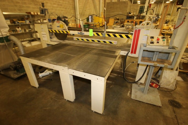 """Hendrick 22"""" Dia. Cross Cut Saw, with Laser Assist, Aprox. 90"""" W Cutting Area, with Inlet & Discharge Tables, Includes Central Machinery 2 hp Dust Collector (Saw #1)"""