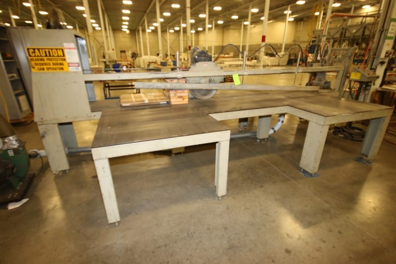 """Hendrick 22"""" Dia. Cross Cut Saw, with Laser Assist, Aprox. 136"""" W Cutting Area, with Inlet & Discharge Tables, Includes Central Machinery 2 hp Dust Collector (Saw #2)"""