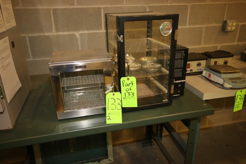Sanpia & Fisher Scientific Drying Chambers, 1-with S/S Design with 2-Shelves, 1-Triple Shelve with Glass Door
