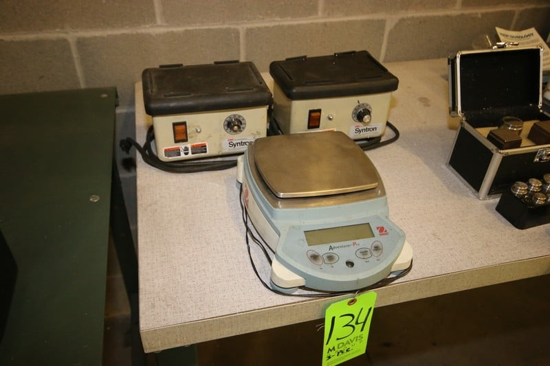 2-FMC Tech. Syntron Vibration Plates, 1-Ohaus S/S Digitial Scale, with Digital Read Out (NOTE:  3-Pce. Lot)