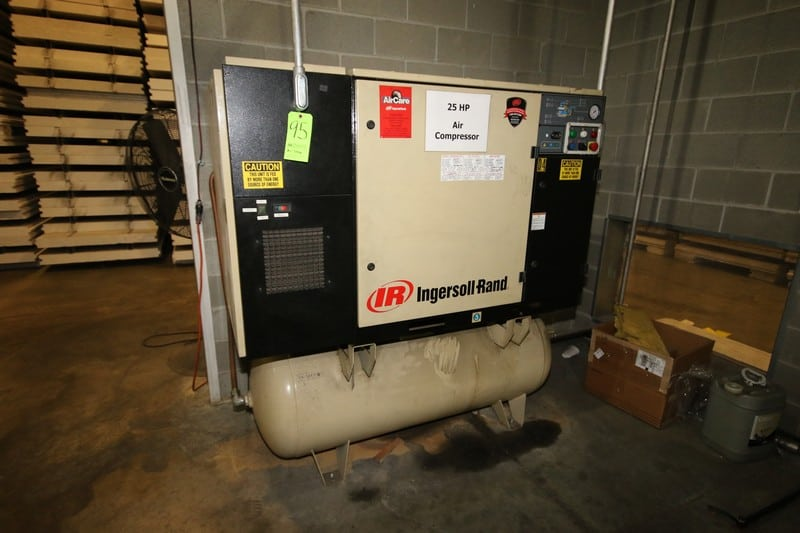 Ingersoll-Rand 25 hp Air Compressor, with Top Mounted Dryer, Horizontal Air Receiver