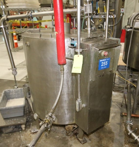 "Aprox. 170 Gal. Hinged Lid Jacketed S/S Kettle, 39"" H x 36"" W, with Scrape Surface Agitator, Bottom Mounted Drive Motor, S/S Legs, Related Valves, Dim. 39"" W x 58"" H, Asset No. 255 (Located Maryland Manufactuirng Area)"