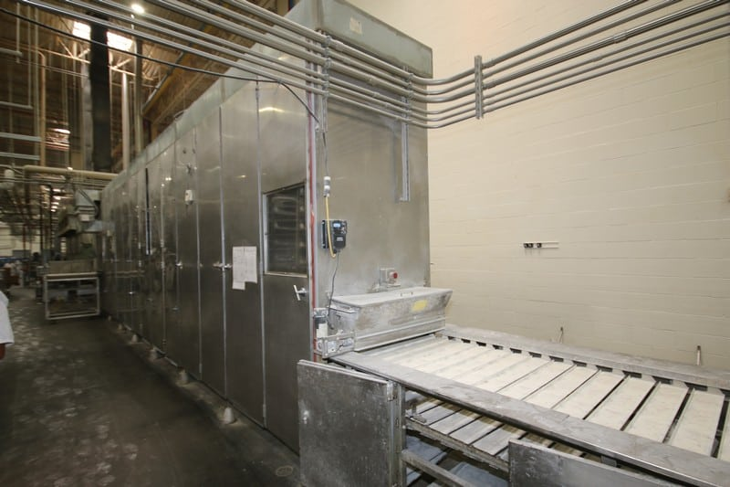 "DCA Proofer, Model, SN, 36"" W Product, Aprox. Dim. 40 ft L x 50"" W x 125"" H, (17) Tray Height, 840 Total Trays, with Flour Depositor, (Line #1), Asset. No. 195"