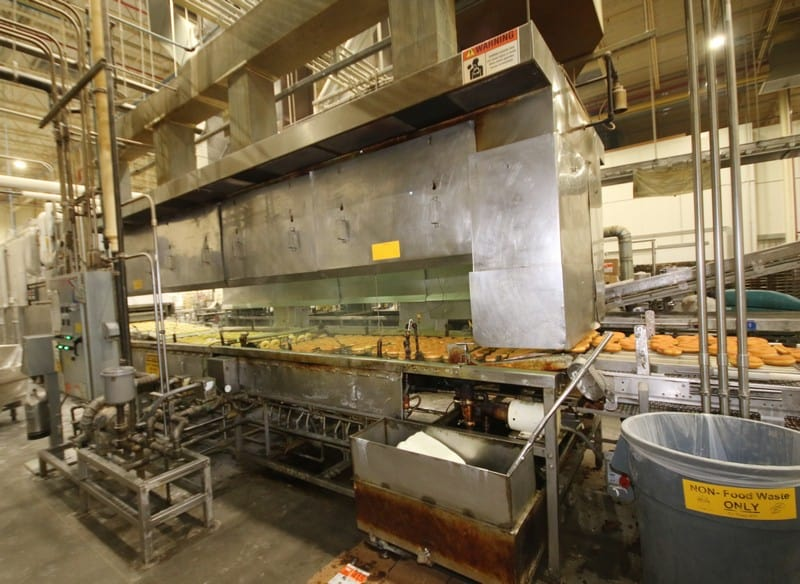 "Moline 18 ft L x 62"" W x 46"" H S/S Nat. Gas S/S Donut Fryer, Model, SN BD 1047, Nat. Gas, 500M BTU/Hr, with Related Controls with Touch Pad, 480V, 3 Phase, Includes S/S Exhaust Hood with Fire Supression System, Line 2, Asset No 159"