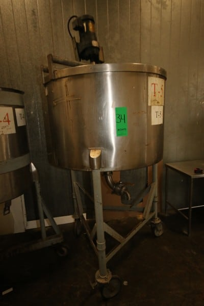 "B & G Aprox. 200 Gal. S/S Single Wall Tank, with Vertical S/S Dual Shear Agitation, with Vertical Agitation Motor, Internal Tank Dims.:  Aprox. 45"" Dia. x 30"" Tall, Mounted on Portable Frame"