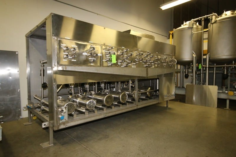 "2014 (3)-Skid Liquid Blending System, Includes 1.) 2014 S/S High Shear Liquid Blending Skid, 25 GPM: Part No. T3420-0101, S/N 21878, Includes (6) Fristam Centrifugal Pumps, M/N FPR741-175, (2) 3 hp 1750 RPM, (2) 10 hp 3500 RPM, (2) 20 hp 3525 RPM, with (4) Allen-Bradley PowerFlex 700 VFDs, Includes S/S Alfa Laval Think Top Air Valves, Overall Dims.: Aprox. 14' L x 16' W x 77"" H (Weighs Aprox. 5,300 lbs.) 2.) 2014 S/S 10-Pass HTST Liquid Processing System, 25 GPM Single Pass Using 22 GPM Chilled Water @ 39 Degree & 360 lb./Hr. Steam: M/N LB-X-HTS-001, S/N 21870, Includes (4) S/S Plate & Frame Heat Exchangers, (2) Fristam Centrifugal Pumps, M/N FRP3522-140, (1) 15 hp 3520 RPM, (1) 30 hp, 10-Pass S/S Transfer Tubing, with Alfa Laval S/S Think Top Air Valves, Overall Dims.: 10' L x 7.5' W (Aprox. 4,500 lbs.) 3.) 2014 (3)-Tank CIP System, M/N LB-X-TNK-012, Part No. T3420-0103012, S/N 21925, Includes (3) S/S ASME Tanks, with Fristam 40 hp Centrifugal Pump, with Baldor 3540 RPM Motor, with Allen Bradley PowerFlex 700 VFD, with Panel View Plus 600 Touchscreen, with Transfer Pump and NEW Assortment of Support Parts & Valving As Photographed, ENTIRE SYSTEM WITH PARTS---(1) MONEY HIGHEST BIDDER TAKES ALL! CALL OUR OFFICE FOR ENGINEERING DRAWINGS 412-521-5751 (LOCATED IN WINSTON-SALEM, N.C.)"