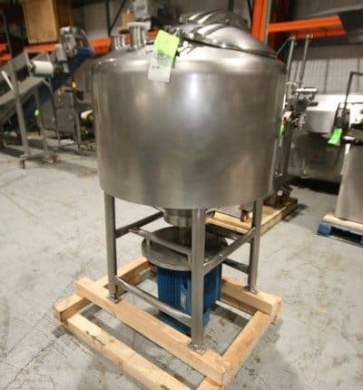 "Aprox. 100 Gal. S/S Cylindrical Likwifier, with 10/20 hp Bottom Mounted Motor, Tank Dims.: Aprox. 38"" Dia. X 22"" Tall, with S/S Hinge Lid, Mounted on S/S Legs (LOCATED @ M. DAVIS GROUP AUCTION SHOWROOM--PITTSBURGH, PA)"