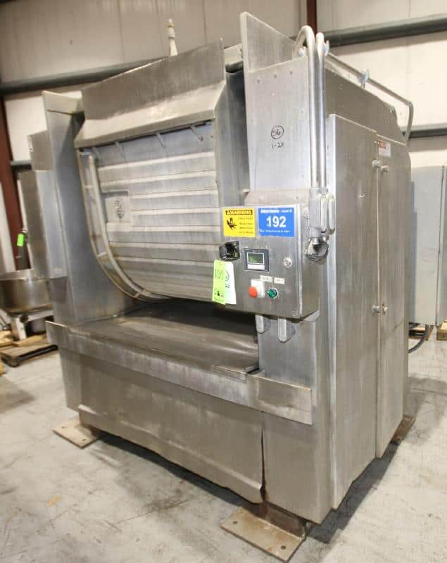 """Peerless 1,000 lb. S/S Roller Bar S/S Dough Mixer, Model 5, SN 378177 with Touchpad Display, Aprox. Dim. 8 ft. L x 89"""" W x 90"""" H, Asset No. 192 (Located Maryland Manufacturing Area (LOAD FEE $1,000.00)"""