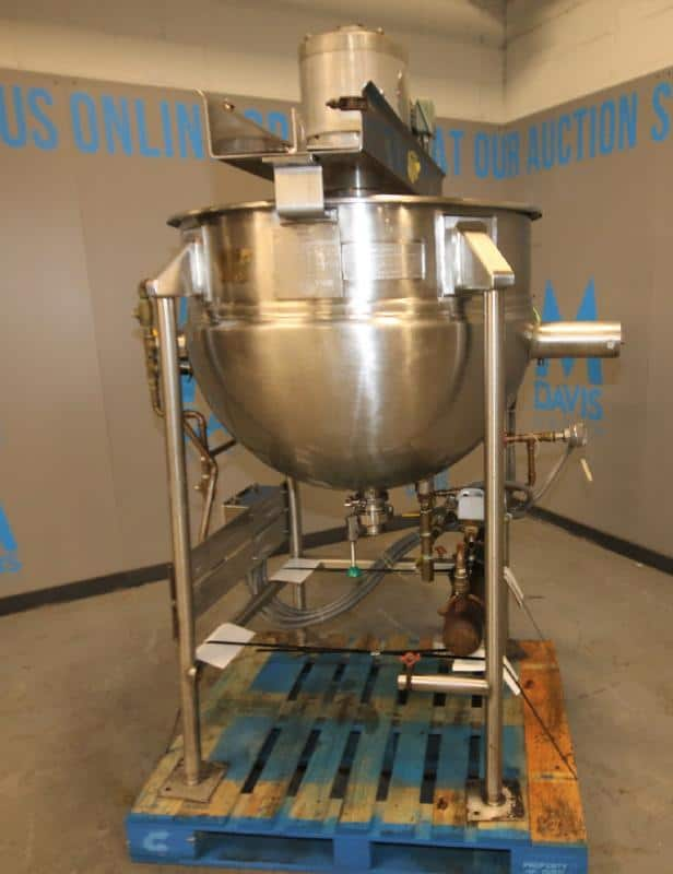 """Hamilton 100 Gal. Jacketed S/S Kettle, SN C-6152-4, with 1 hp Scrape Surface Agitator, 230 - 460 V, 3"""" CT Out - Feed with Butterfly Valve, MAWP 100 psi @ 328 Degree F, Includes On-Board Immersion Heater (Located at the MDG Showroom in Pittsburgh, PA)"""