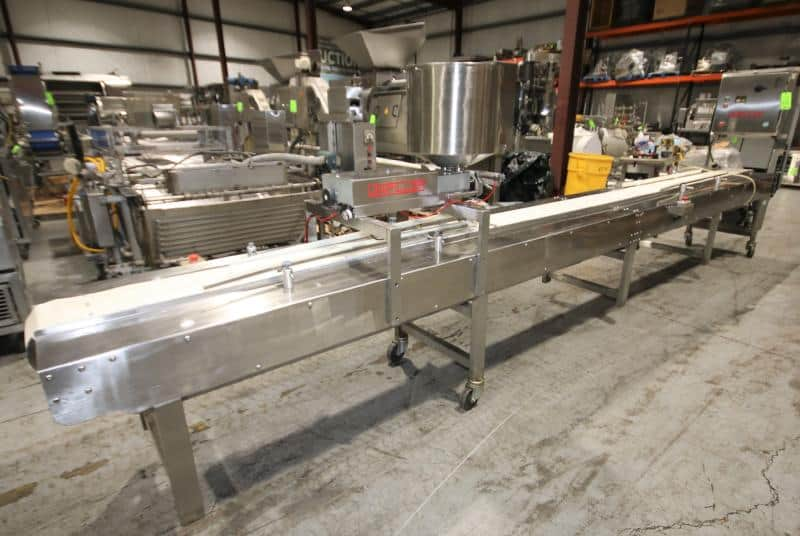 """Unifiller Depositor with 2 - Pistons, 17"""" W x 18"""" H Bowl, Mounted on 20 ft 8"""" L Conveyor System with 9"""" W Plastic Belt with Drive, Control Box with Mitsubishi FX0-30MT PLC Controller & VFD 460V (Located at the MDG Showroom in Pittsburgh, PA)"""
