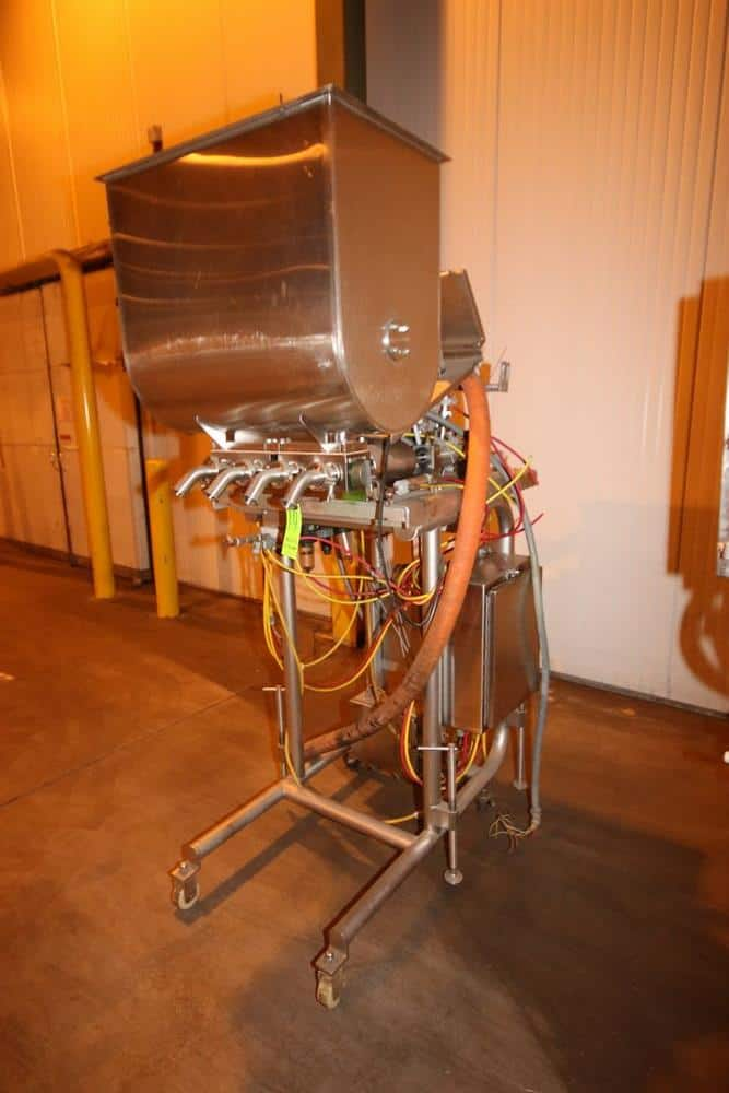 "Hinds-Bock Quad Piston Filler/Depositor, M/N 2P-160, S/N 0004483, with (4) 1-1/2"" Clamp Type Outlets, with S/S Hopper, Allen Bradley MicroLogix 1000, Mounted on S/S Portable Frame (LOCATED IN BROCKPORT, PA)"
