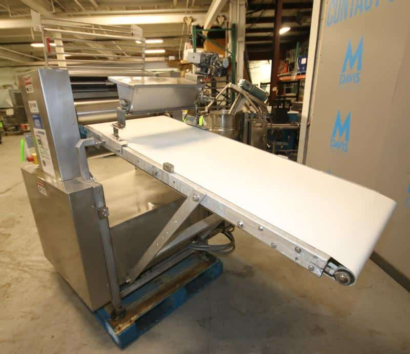 """Rykaart 24"""" W S/S Sheeter, with 5 ft L x 24"""" W Belt Conveyor, S/S Flour Duster, Control Box with (2) Automation Direct VFDs(Located at the MDG Showroom in Pittsburgh, PA)"""